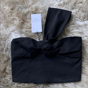ZARA ONE SHOULDER THICK STRAP RIBBON CROP TOP BNWT